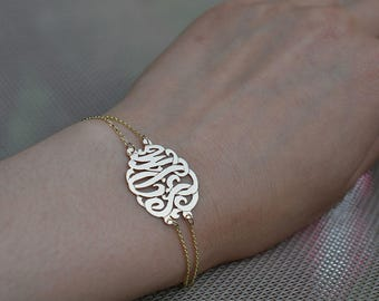 Monogram bracelet,Birthday gifts,Anniversary gift bracelet silver,Women's gifts 10k gold, Monograms 14k gold,Double chain initial monograms.