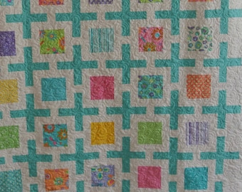 Child's quilt with minky back. Super soft, cuddly , bright  cheerful colors