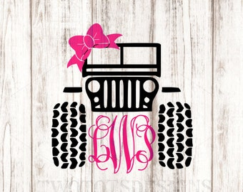 Monogram Jeep Decal, Jeep bow decal, Girly Jeep, YETI decal, Glitter vinyl available