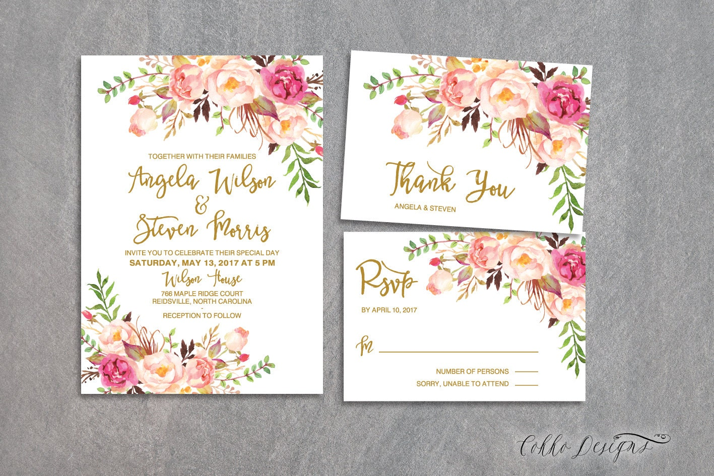 Floral Wedding Invitation, Boho Chic Wedding Invite, Gold Invite ...