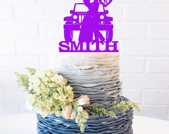 Last Name Jeep Couple Wedding Cake Topper Jeep Cake Topper Jeep wedding cake topper bride & groom initials offroad wedding silhouette topper