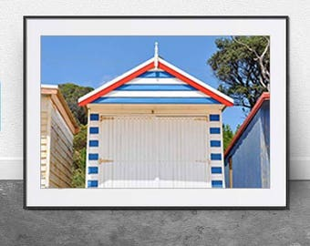 Single Beach Hut, DIGITAL DOWNLOAD, Coastal,Rustic, Nautical, Beach Photography, Summer, Beach, Wall Art, Home Decor, Modern, Art