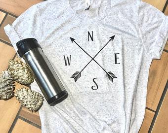 Compass shirt. Arrow shirt. Aztec compass arrow shirt. NSEW shirt.
