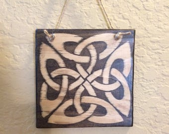 Square Celtic Knot Wood Plaque - Ready to Ship