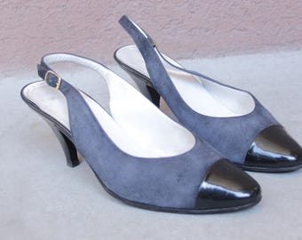 1960's Chanel Style Slingback Shoes - 60's Suede and Leather Pumps - Size 39 / Us 8.5