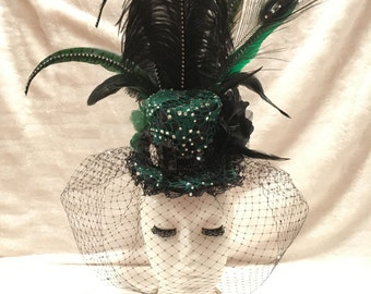 Green and Black Crystal Rhinestone Mini Top Hat. Burlesque Cabaret Dance Vintage Fascinator Hat Costume Accessory