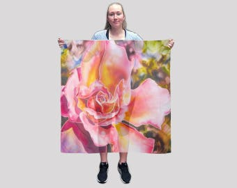 Silk Scarves, Luxury Silk Scarves, Women silk scarves, Large square Silk Scarf, Pink Silk Scarf, Rose Scarf, Square Scarf, Designer scarf
