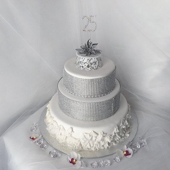 25th Wedding Anniversary Cakes: 25th Silver Wedding Anniversary Cake Topper Silver Wedding