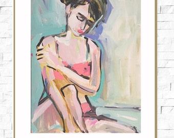 Figure Study PRINT, Woman, Bather, Figurative, paper OR canvas