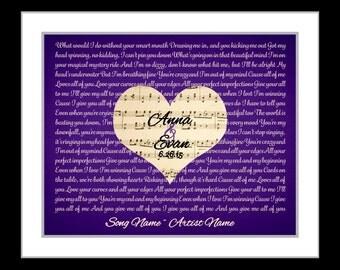 Song lyric art, anniversary gift, 7 year anniversary, gift for her, wedding song lyrics, custom print, song lyrics, living room decor, vows