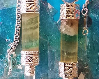 2 Handmade RAINBOW FLUORITE Crystal Dowsing PENDULUM Divination Wands with Crystal Quartz Point, Beaded Chain and 2 Storage Pouches
