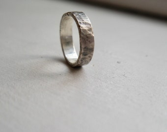 Ridge || handmade hammered one of a kind oxidized mens wedding band|| rugged mens wedding bang || oxidized sterling silver wedding band