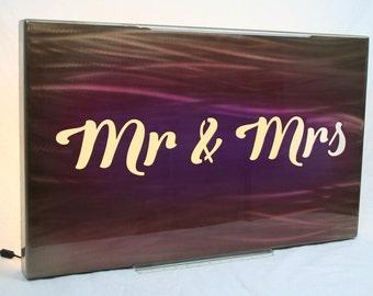 Mr & Mrs Aluminum Art Panel, gift for her, modern reception decor, wedding gift, modern reception decor, anniversary gift, romantic gift