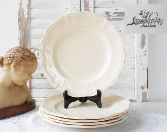 5 Plates Digoin Sarreguemines White Plates Scalloped Border