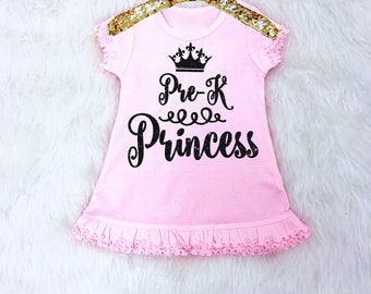 Pre-K Princess Dress. Girls First Day of Pre-School Dress. Pre-Kindergarten Dress. Preschool Dress. Preschool Outfit.