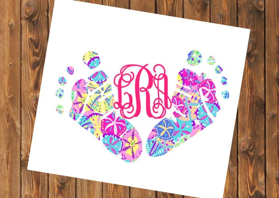 Free Shipping-Monogram Decal, Baby Feet Monogram,Lilly Pulitzer Inspired, Cooler, Yeti, Laptop, Monogram Sticker, NICU Nurse, Newborn Baby
