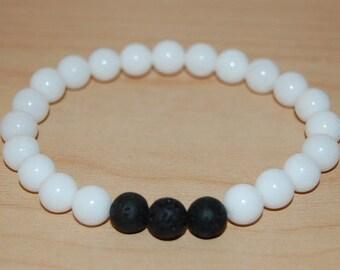 White Agate Stone Bracelet,8mm Beads,White Stone Bracelet,Man,Woman,health,Relieve,Protection,Yoga,Stretch,Men,Women,Protection,Meditation