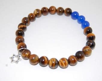 Tiger Eye Bracelet,Star of David Bracelet,Tiger Eye Gemstone 10mm Beads,Gemstone Bracelet,Star of David,Man,Woman,Protection,Meditation