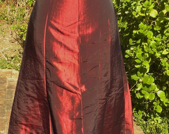 stunning black dark red vintage evening dress, gown sizr uk 6, waist max 26 inch, gothic, steampunk