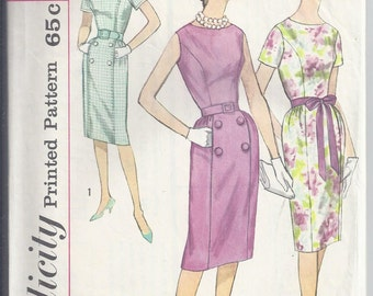Simplicity 3874 1960s One Piece dress sewing pattern, princess seams, slim skirt, Bust 36