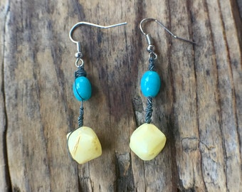 Wire Wrapped Turquoise and Pale Yellow Beads with Nickel Free Fishhooks Earrings