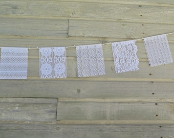 Wedding Flags, Wedding Bunting, Vintage Lace, Boho Wedding, Lace Garland, Prayer Flags, Gypsy Decor, Upcycled Fabric, Rustic Wedding