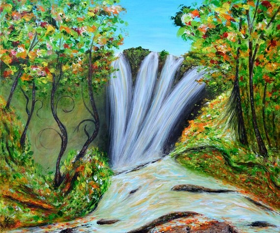 Surreal Art, Autumn Landscape with Waterfall. Surrealism, Fantasy Wall Art, Surrealist Artwork. Fall Colors. Giclee Art Print of a Painting.
