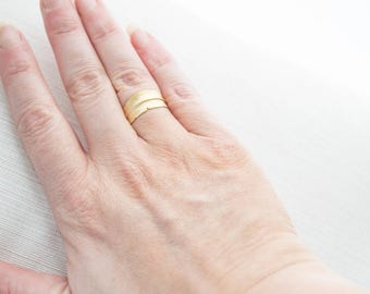 Matte Gold Feather Ring, Adjustable