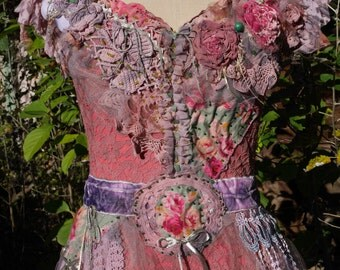 "Romantic Dress, ""Peony powdered"", lace, old dusty pink, very graceful, pink lilac, mauve, green, Boho dress,Wearable Art, Unique"