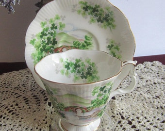 Royal Albert EMERALD ISLE from the Ancestral Series Bone China Tea Cup and Saucer
