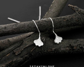 Sterling Silver Tiny Ginkgo Leaf Threader Earring | Nature Inspired Jewelry I Personalized Gift