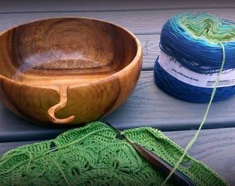 "Hand-turned  ~ Oregon Myrtlewood  Yarn Bowl 7.5"" across by 3"" deep"