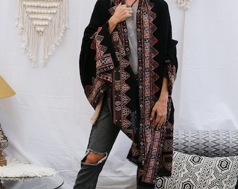 Wool Shawl With Handmade Embroidery In Black, Tribal Indian Shawl Wrap, Winter Accessories, Boho Fashion, Winter Wrap