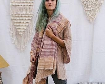 Large Wool Scarf Shawl, Winter Scarf, Wool Scarf Women, Wool Scarf Men, Earthy, Striped Scarf, Winter Gift