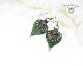 Macramé earrings - Leaf shaped- Choice of semi-precious stone and color - Fairy jewel, Elvish jewel, boho chic jewel, zenna