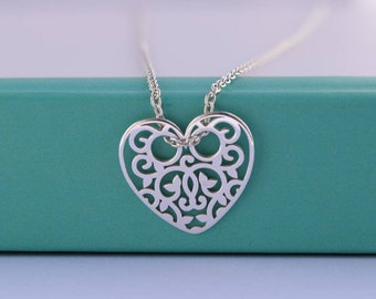 Dainty Heart necklace. Sterling Silver Filigree Heart necklace. Layering necklace. Everyday necklace
