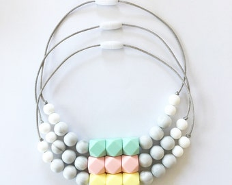 NEW! TODDLER Girls Kids Childrens Necklace Jewelry • Silicone Beads • Mommy and Me • Twinning • Big Sister Gift • Mint // Yellow // Pink