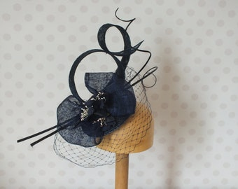 Navy Fascinator with ostrich quills, vintage flowers birdcage veil sinamay loops bow & hair comb Races retro Wedding mother of the bride