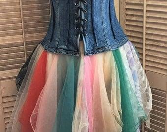 Unicorns and Rainbows Tunic Dress~ Upcycled Clothing, BoHo Clothing, Festival Clothing, Coachella Clothing,Festival Wear,Bohemian Wear,OOAK