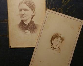 Lot of 2 Victorian CDV fashionable women
