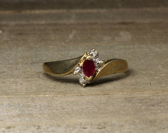 Estate, 10K Yellow Gold Ring With Diamonds and Rubies