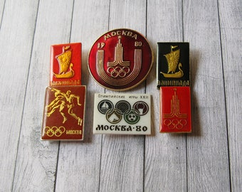 6 Olympic Pins, Moscow 80, Soviet Olympic Pin, Olympic Games, Sports Collectible, Olympic Collectible, Gift for Sportsmen