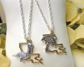 Vieuxtique Original: Louisiana State Pelican or Second Line Parasol Pendant, Louisiana Jewelry, New Orleans Jewelry