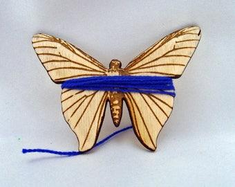 Embroidery bobbin, floss bobbin, floss holder, thread holder, skein holder, needlepoint bobbin, cross stitch, laser cut wooden butterfly,