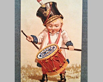 Antique Victorian Trade Card by Clark's ONT Thread, Drummer Boy, Collectible Lithograph Advertisement, Dated 1882
