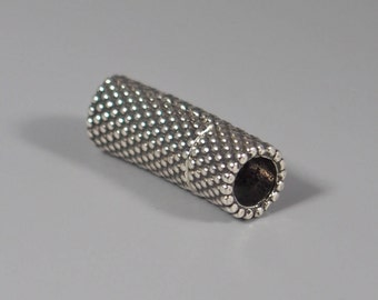 Small Dots Tube Magnetic Clasp, Antique Silver, 5mm ID, Glue-in Clasp for Kumihimo or Leather
