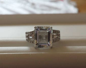 Aquamarine Sterling Silver Ring, Rhodium Plated, Natural Gemstone, Oval Cut Aquamarine, March Birthstone