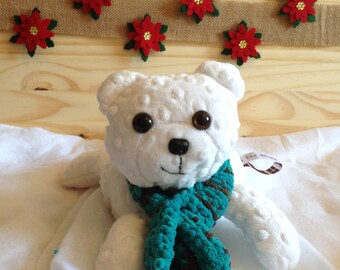 minky white polar bear with blue eyes