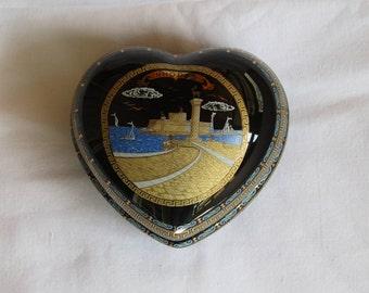 Vintage Greek porcelain heart shapped box, beautiful ancient style decoration, souvenir of Rhodes. Greek souvenir, Rhodes souvenir!