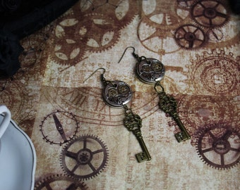 Goth/Steampunk Key and Gears Silver and Bronze Charm Earrings